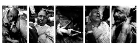 Personnages et scènes de rue dans le quartier des crémations.