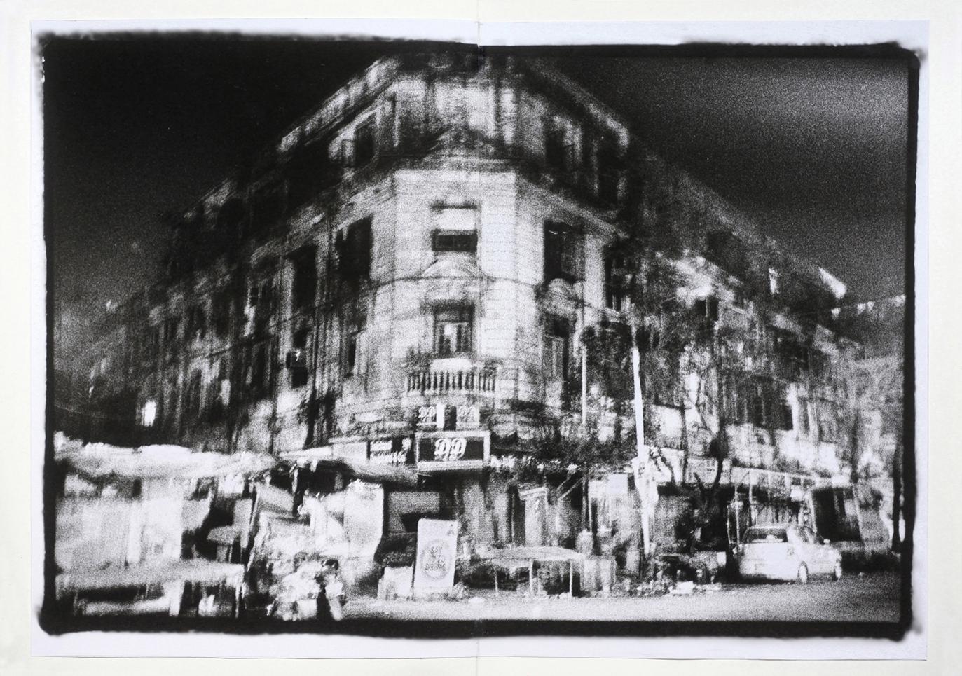 Paysage urbain la nuit dans le quartier de Null Bazar de Bombay la nuit